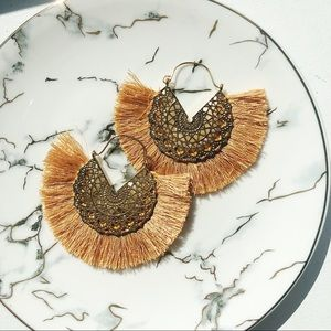 Jewelry - Caramel Boho Statement Tassel Earrings